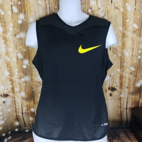 Activewear Mens Nike Pro Combat Padded Football Shirt Black With Yellow Pads Dry-fit Sz Xl